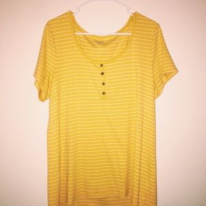 Old Navy Yellow Striped Buttoned Short Sleeve Tee